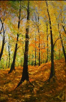 Forrest in Fall II by Deborah Elizabeth McNeill, Painting, Oil on canvas