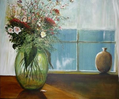 Green Glass Vase by Lizzy Forrester, Painting, Acrylic on canvas