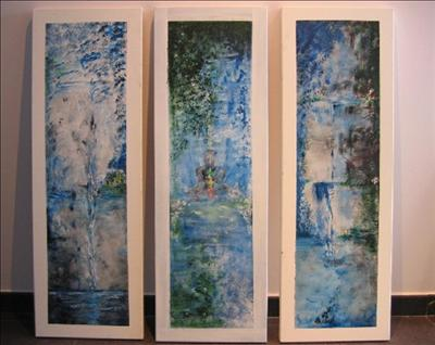 Meditation Triptych by Deborah McNeill, Painting, Acrylic on canvas