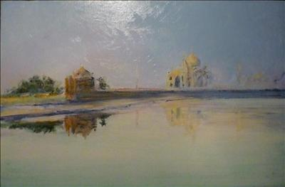 TaJMahal Sunrise by Deborah Elizabeth McNeill, Painting, Oil and Acrylic on Canvas