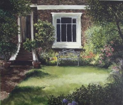 Trafalgar Road, front garden by Lizzy Forrester, Painting, Oil and Acrylic on Canvas