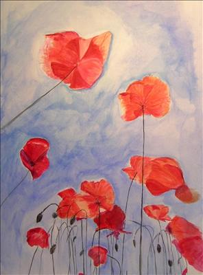 poppies by Deborah Elizabeth McNeill, Painting, Acrylic on paper